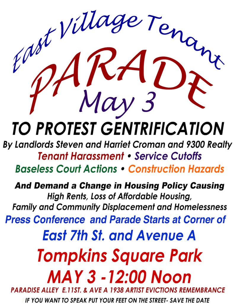 East Village Tenant Parade May 3 To Protest Gentrification
